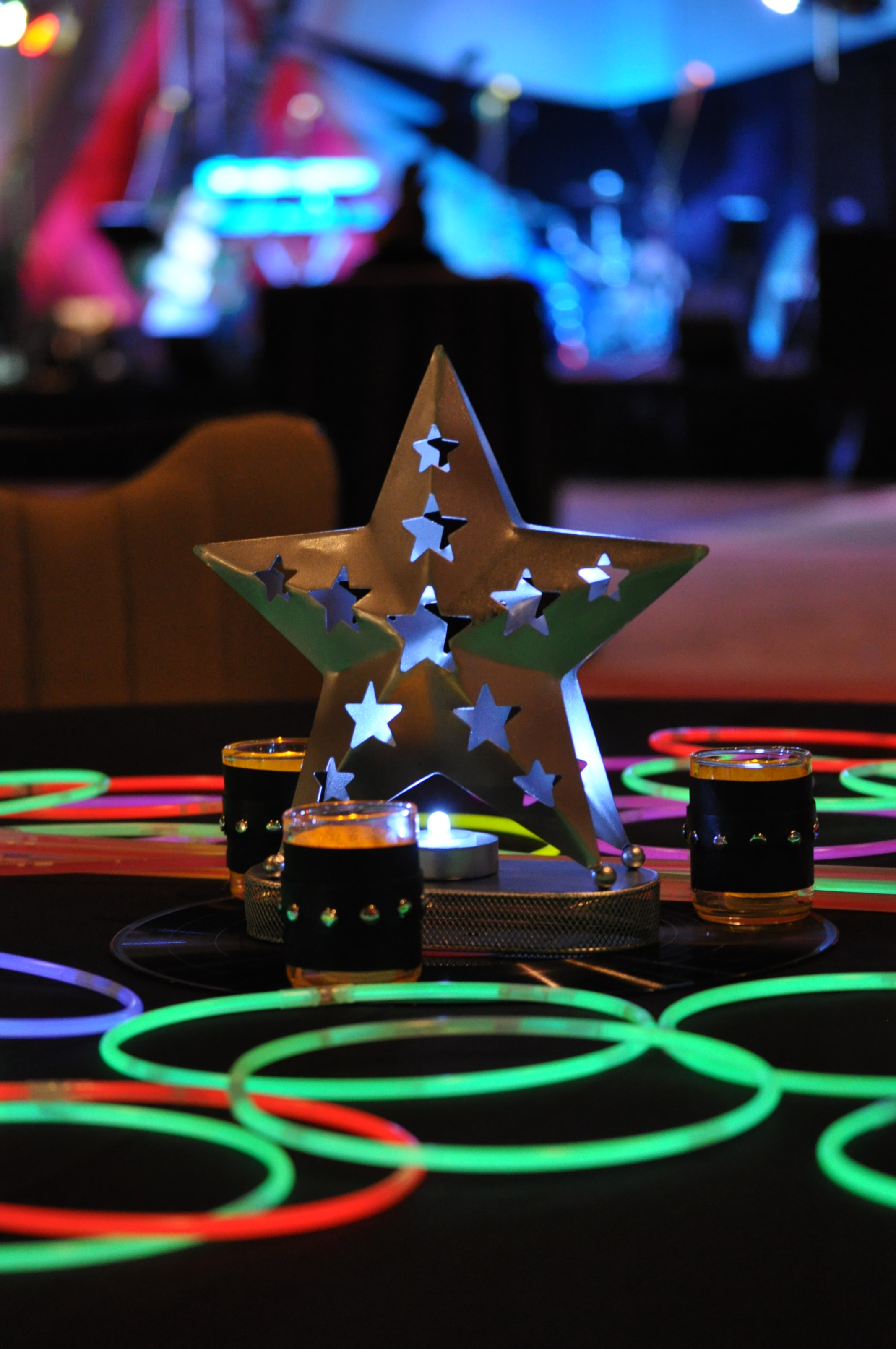 Metal star lanterns with neon glow for rock n roll theme - Rock and roll theme party decorations ...