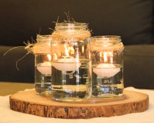 30 Rustic Mason Jar Centerpiece With Floating Candles On Wood Slices Advantage Destination And