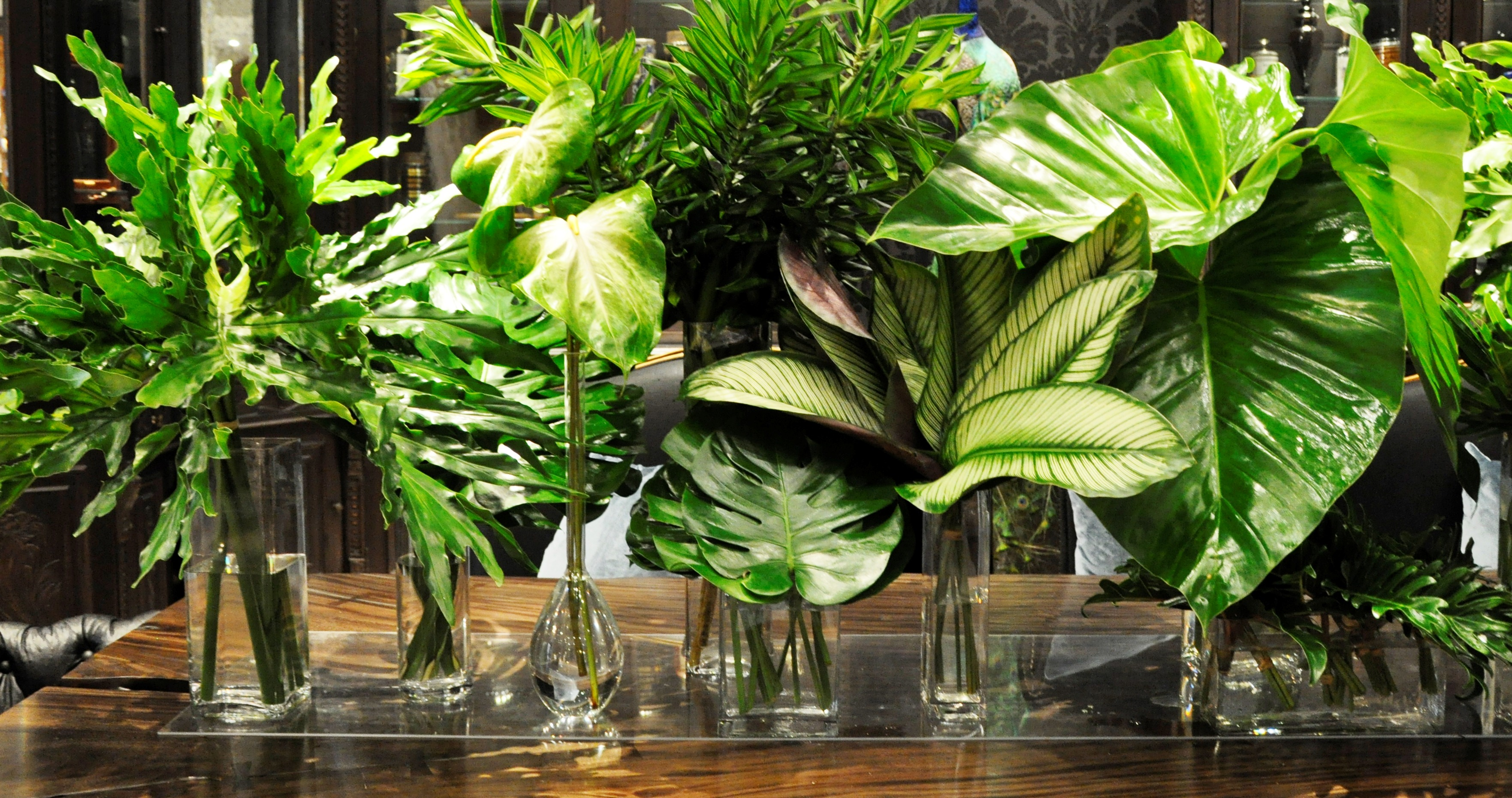Oversized Tropical Leaf Centerpieces
