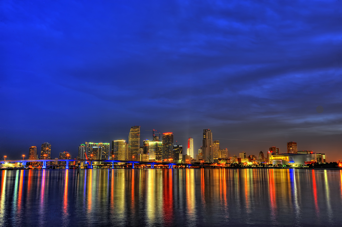Downtown Miami Skyline At Dusk HD Wallpaper